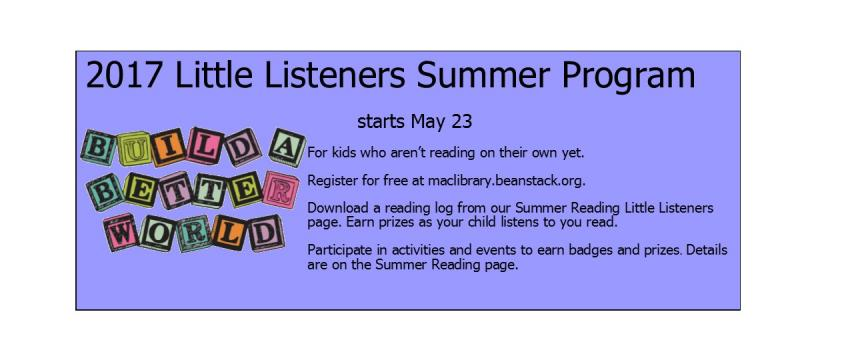 Little Listeners 2017 Summer Program at McMinnville Public Library for kids not yet reading