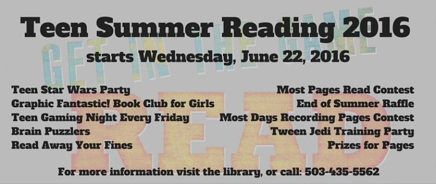 Teen Summer Reading 2016 banner