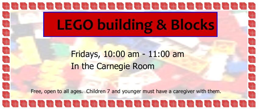 Come play with our LEGO bricks and large blocks. 10am Fridays, alla ges welcome.