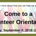 Volunteer Orientation banner