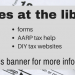 taxes at the library banner
