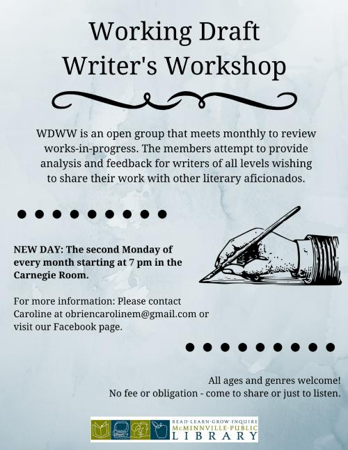 working draft writer s workshop mcminnville oregon working draft writer s workshop flyer
